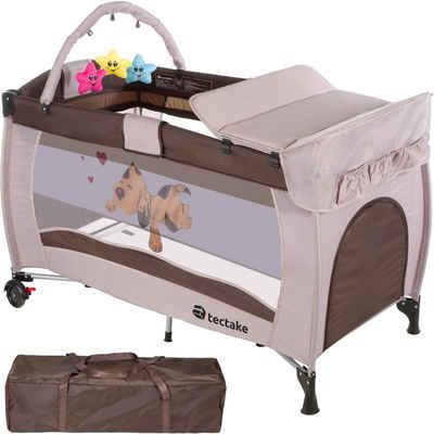 tectake Baby-Reisebett »Kinderreisebett Hund mit Wickelauflage«