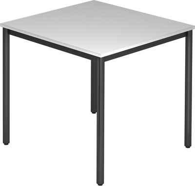 bümö Konferenztisch »OM-DR08-D«, Meetingtisch & Besprechungstisch System - Quadrat: 80 x 80 cm - Gestell: Schwarz, Dekor: Grau