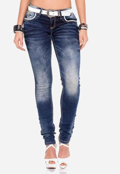 Cipo & Baxx Slim-fit-Jeans mit bestickten Taschen in Slim Fit