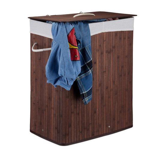 relaxdays Wäschesortierer »Wäschekorb Bambus mit 2 Fächern«