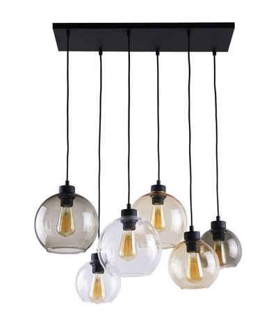 Licht-Erlebnisse Pendelleuchte »KALETE«, Pendelleuchte Wohnzimmer Bernstein Graphit Trasparent Hängelampe