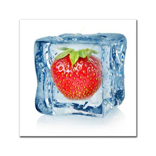 Bilderdepot24 Leinwandbild, Leinwandbild - Eiswürfel Erdbeere