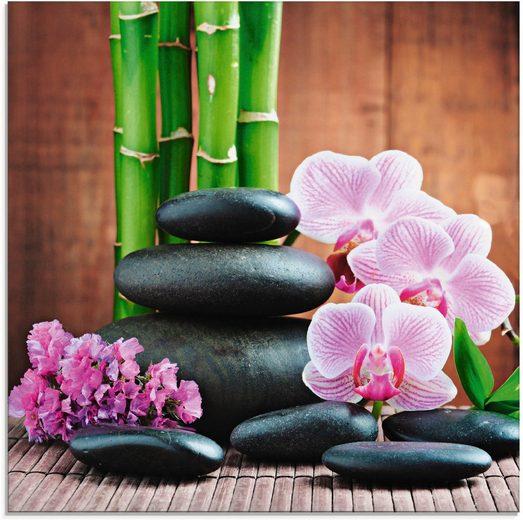 Artland Glasbild »Spa Konzept Zen Steinen Orchideen«, Zen (1 Stück)