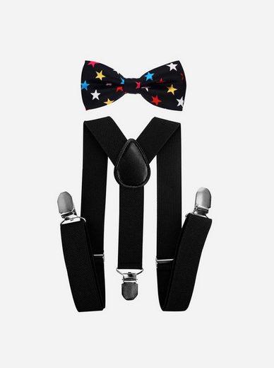 axy Hosenträger »Kinder Jungen Hosenträger mit Bunt Fliege Set« (2-St., 2er Set) für Kinder 1-6 Jahre alt, Hosenträger mit Bunte Fliege, verstellbar und elastisch