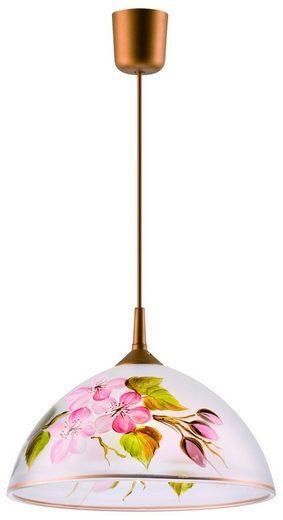 Licht-Erlebnisse Pendelleuchte »LEHTI Pendelleuchte Weiß Rosa Grün floral Glas retro Hängelampe Küche Lampe«