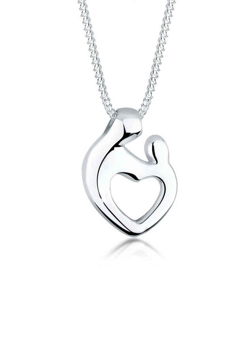Elli Kette mit Anhänger »Mutter & Kind Herz 925 Silber«, Herz
