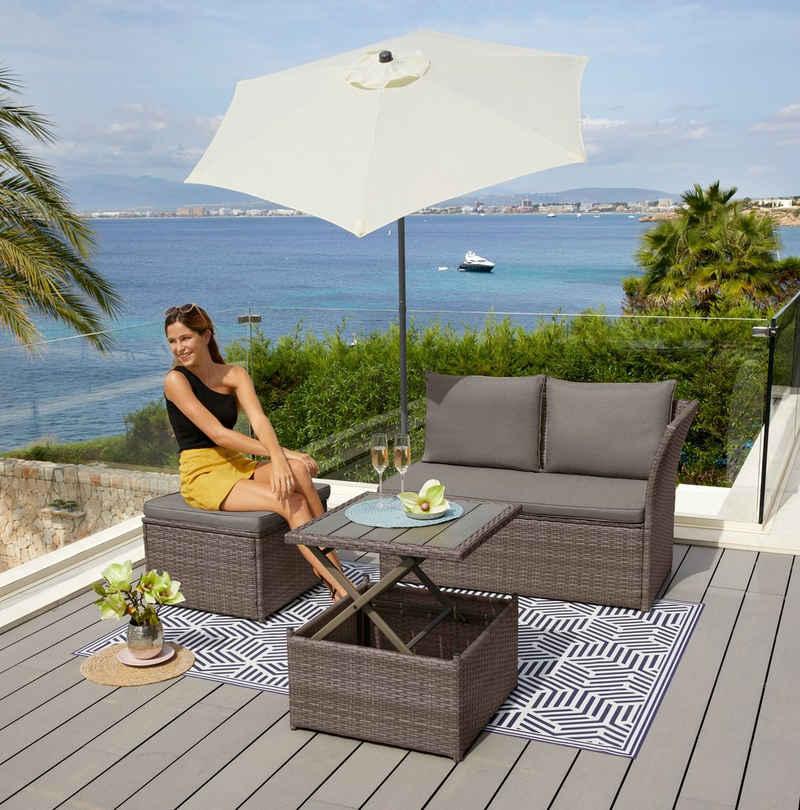 KONIFERA Loungeset »Marseille Premium«, (7-tlg), 2er Sofa, 1 Hocker, Tisch 57x57x36-63 cm, Polyrattan