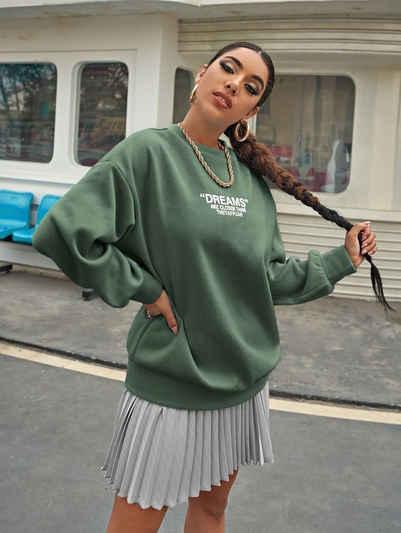 enflame Longpullover »3735« Damen Dünnes Oversized Sweat Shirt Long Pullover Legerer Sweater Dreams