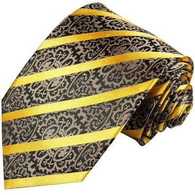 Paul Malone Krawatte »Moderne Herren Seidenkrawatte barock gestreift 100% Seide« Schmal (6cm), gold schwarz grau 931