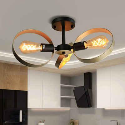 ZMH Deckenleuchte »gold 3-Ring retro deckenlampe Industrial E27 vintage aus Metall für Wohnzimmer schlafzimmer«
