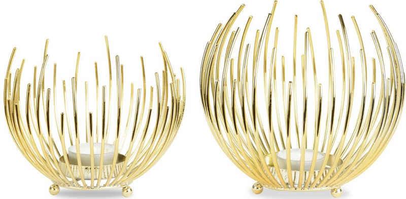 Leonique Teelichthalter »Crell« (Set, 2 Stück), Strahlenkugelform aus Metall
