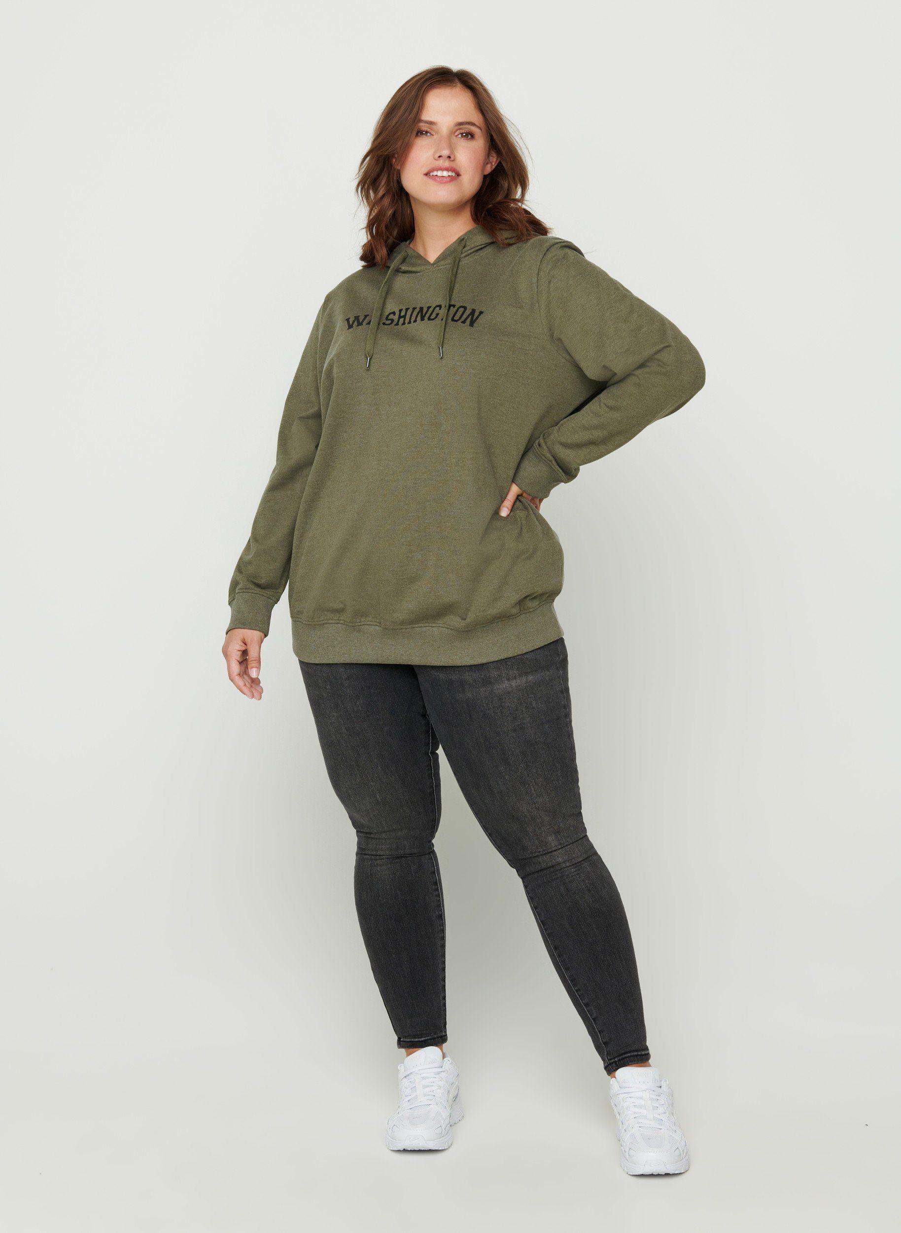 Zizzi Hoodie Große Größen Damen Baumwolle Print Kapuze online kaufen | OTTO