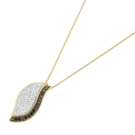 Luigi Merano Kette mit Anhänger »mit schwarzen Diamanten und weißen Brillanten, Gold 585«
