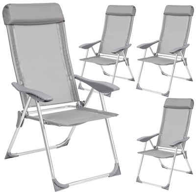 tectake Gartenstuhl »4 Aluminium Gartenstühle mit Kopfteil«