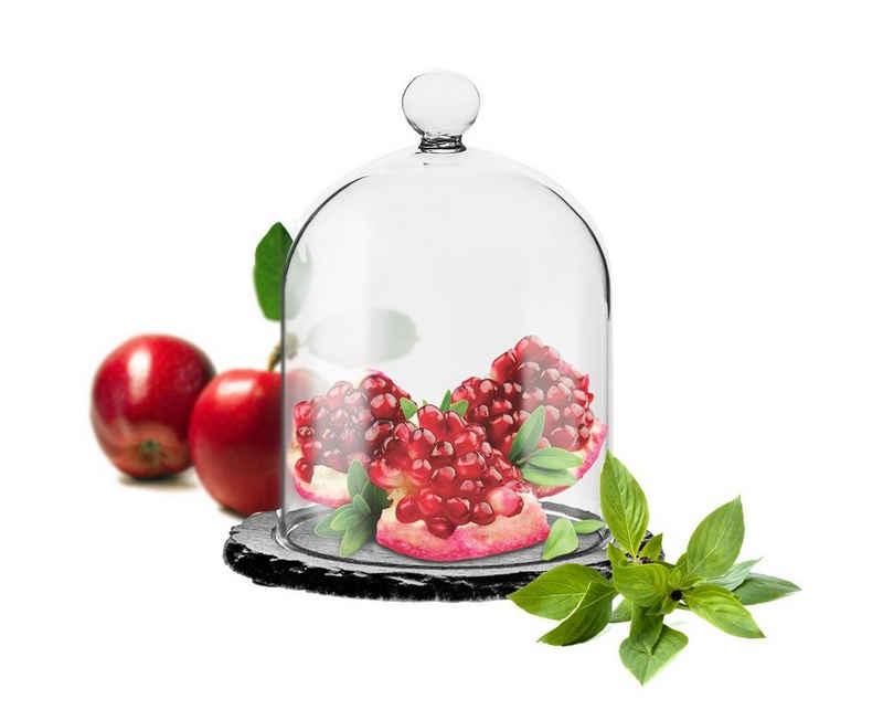 Sendez Tortenglocke »Glasglocke auf Schieferplatte 10x13,5cm Glashaube Glaskuppel Glocke Glasdom«