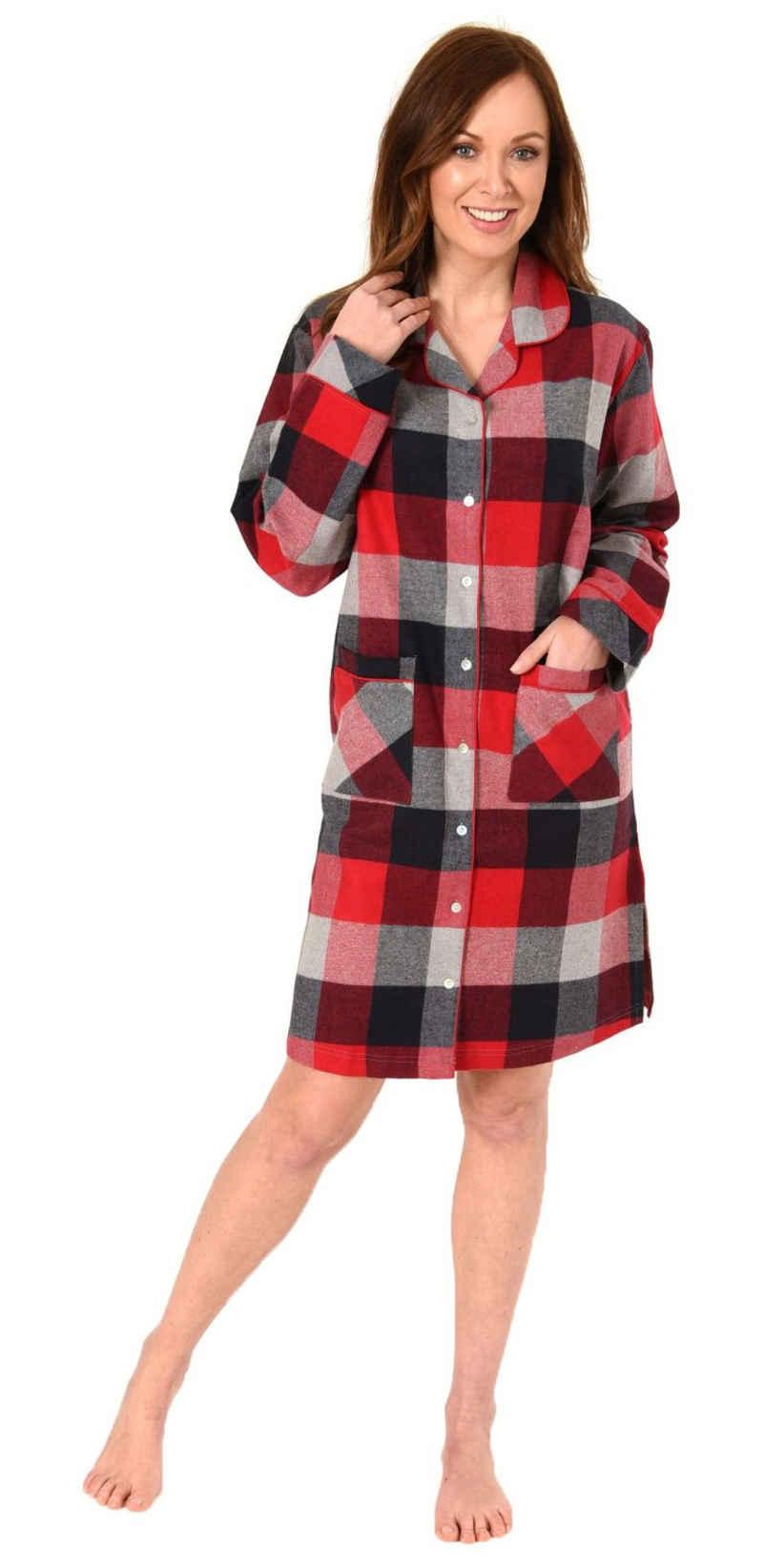 Normann Nachthemd »Damen Flanell Nachthemd im edlen Karodesign zum durchknöpfen - auch in Übergrössen bis 60/62«