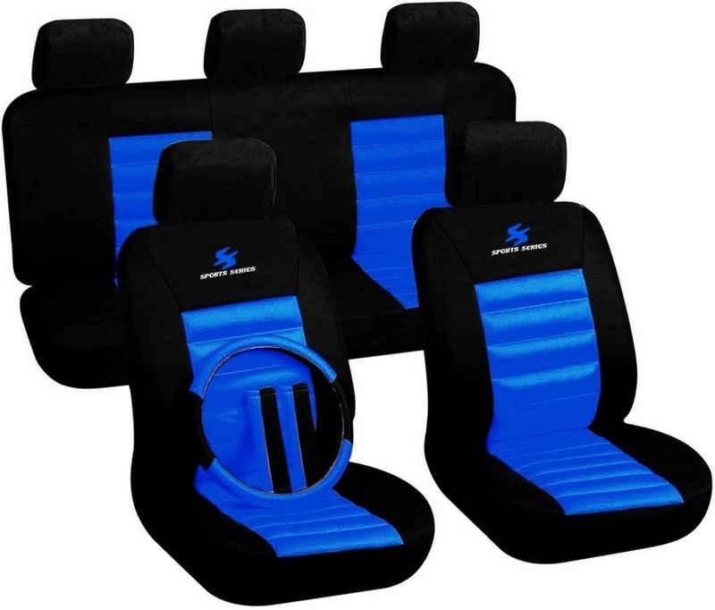 Woltu Autositzbezug »7264«, Sitzbezüge Auto Schonbezüge universal Größe, mit Lenkradbezug und Gurtpolster, Sportlich, schwarz-blau