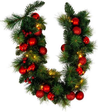 näve LED-Lichterkette »LED-Weihnachtslichterkette mit Dekoration l: 100cm - rot«, Timer