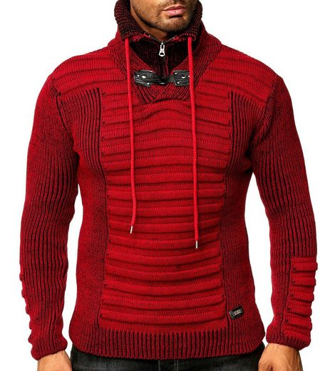 Rusty Neal Rundhalspullover »RUSTY NEAL Stehkragen-Pullover moderner Sweater Herren Sweatshirt Trendpulli Rot«
