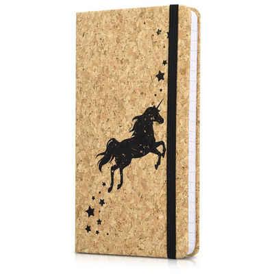Navaris Notizbuch, Journal aus Kork liniert mit Gummiband - 18x13cm Hardcover Notebook 100 Seiten - mit Bändchen und Fach im Einband - Einhorn Design