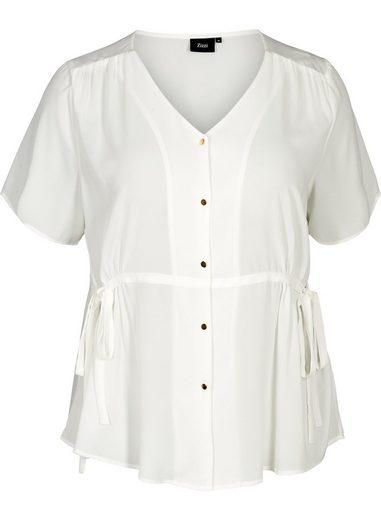 Zizzi Kurzarmbluse Große Größen Damen Lockere Kurzarm Bluse mit V Ausschnitt und Knöpfen