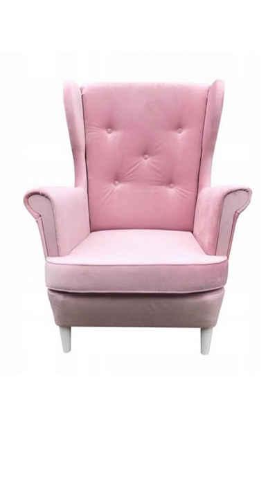 Mars Möbel Ohrensessel »Sessel mit Holzbeine ARLO Polstersessel Rosa Wohnzimmer Ohrensessel mit Steppung«, mit Steppung
