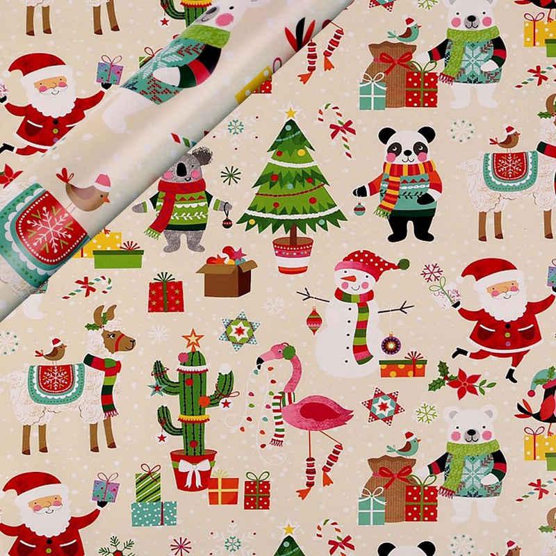 maDDma Geschenkpapier »1 Rolle Weihnachts-Geschenkpapier Verpackungspapier Weihnachten Geschenkverpackung Motivwahl«, hellbeige Panda