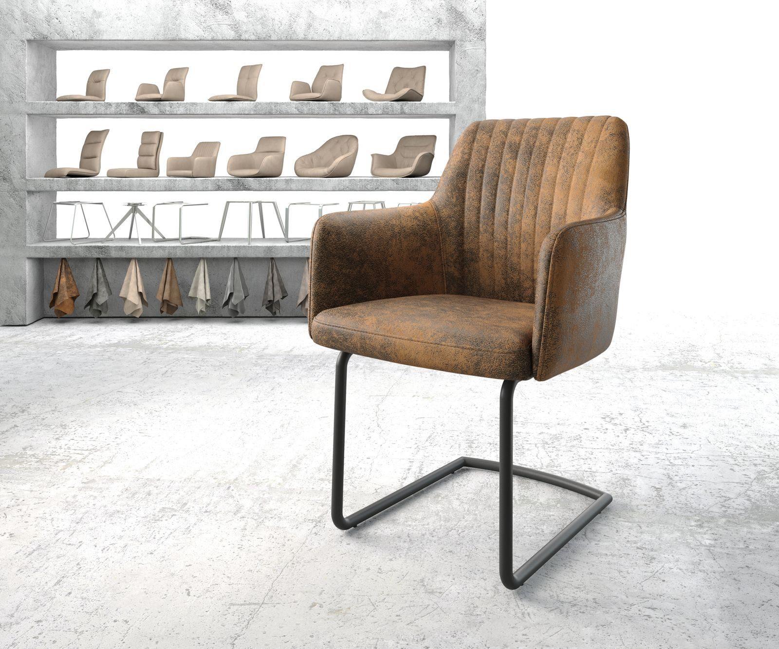 DELIFE Esszimmerstuhl »Greg Flex« Freischwinger rund schwarz Vintage Braun online kaufen   OTTO