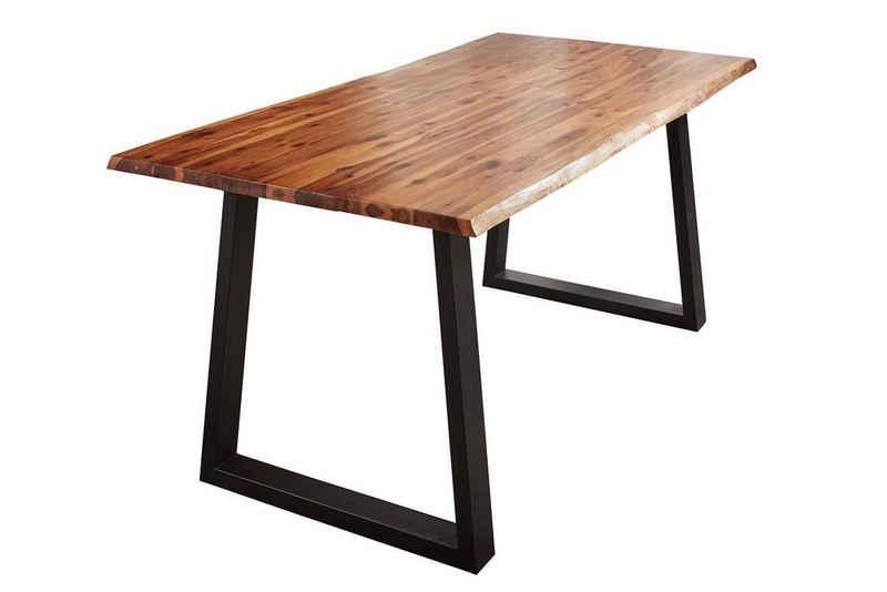 SAM® Esstisch »Hevlin«, Esstisch Akazie Massiv cognacfarben 30mm natürliche Baumkante