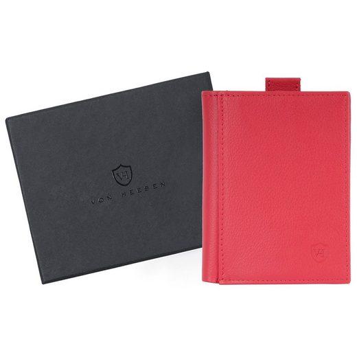VON HEESEN Mini Geldbörse »Slim Wallet mit 15 Kartenfächern und XXL-Münzfach (rot)«