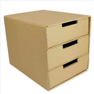 TimeTEX Schubladenbox »Natura-Schubladen-Box A4 mit 3 Schüben, aus Pappe«