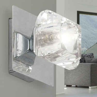 Globo Wandleuchte, Wandleuchte Wandlampe Quadrat Kristallglas Design Spot Chrom H 10 cm Wohnzimmer