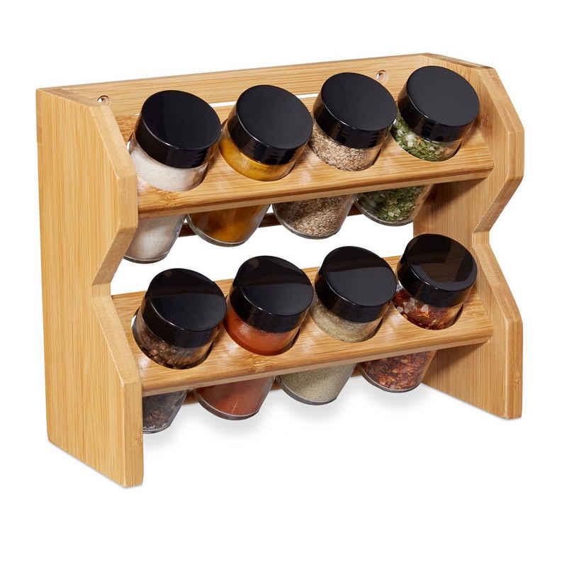 relaxdays Gewürzregal »Bambus Gewürzregal 8 Gläser«