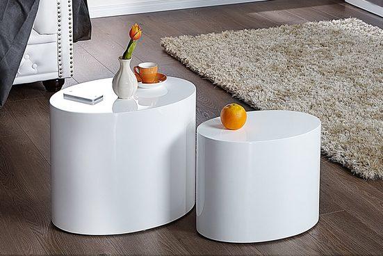 riess-ambiente Beistelltisch »DIVISION 50cm weiß« (2er-Set), Hochglanz · Couchtisch · Modern Design · oval