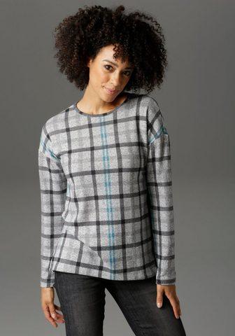 Aniston CASUAL Sportinio stiliaus megztinis im Karo D...