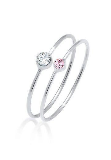 Elli Ring-Set »Solitär Kristalle (2 tlg) 925 Silber«, Solitär-Ring