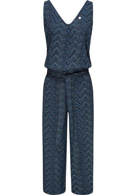 Hosen - Ragwear Jumpsuit »Suky Zig Zag« schicker, langer Damen Overall mit Bindeband › blau  - Onlineshop OTTO