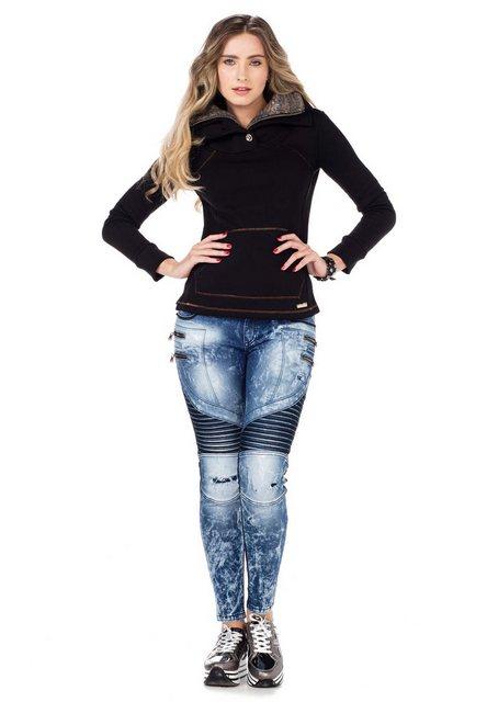 Cipo & Baxx Fleeceshirt mit kuscheligem Kragen | Bekleidung > Sweatshirts & -jacken > Fleeceshirts | Cipo & Baxx