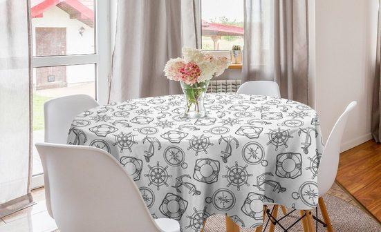 Abakuhaus Tischdecke »Kreis Tischdecke Abdeckung für Esszimmer Küche Dekoration«, Nautisch Anchor Lifebuoy Marinekunst