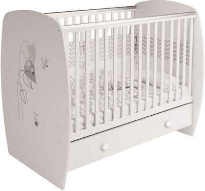 POLINI kids Babybett »French 710 Amis, weiß«, mit Bettschubkasten