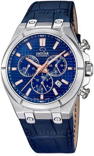 Jaguar Chronograph »UJ696/2 Jaguar Herren Uhr Elegant J696/2 Leder«, (Chronograph), Herren Armbanduhr rund, Lederarmband blau, Elegant