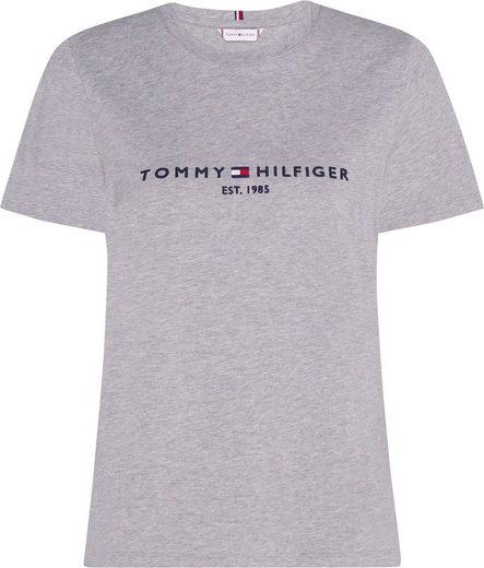 Tommy Hilfiger Rundhalsshirt »HERITAGE HILFIGER C-NK REG TEE« mit gesticktem Tommy Hilfiger Linear Logo-Schriftzug