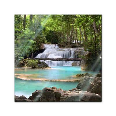 Bilderdepot24 Glasbild, Wasserfall im Wald