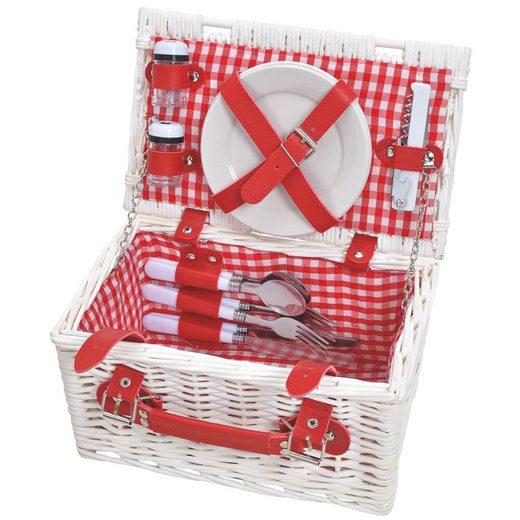 matches21 HOME & HOBBY Picknickkorb »Picknickkorb Weidenkorb 12-tlg. Rot / weiß«, Für 2 Personen / Geschirr, Besteck, Zubehör