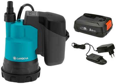 GARDENA Klarwasserpumpe »2000/2 18V P4A Ready-To-Use-Set« (Set), mit Akku und Ladegerät