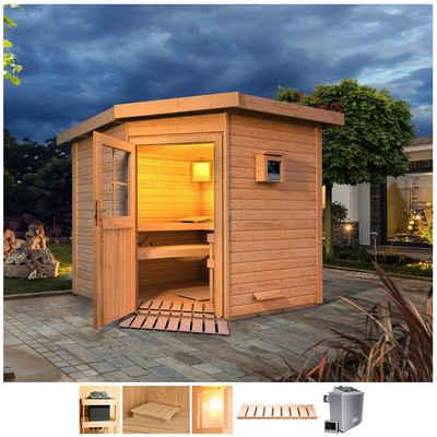 Karibu Saunahaus »Tore«, BxTxH: 231 x 196 x 226 cm, 38 mm, 9-kW-Ofen mit ext. Steuerung