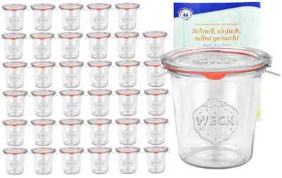 MamboCat Vorratsglas »36er Set Weck Gläser 580ml Sturzgläser mit 36 Glasdeckeln, 36 Einkochringen und 72 Klammern inkl. Gelierzauber Rezeptheft von Diamantzucker«