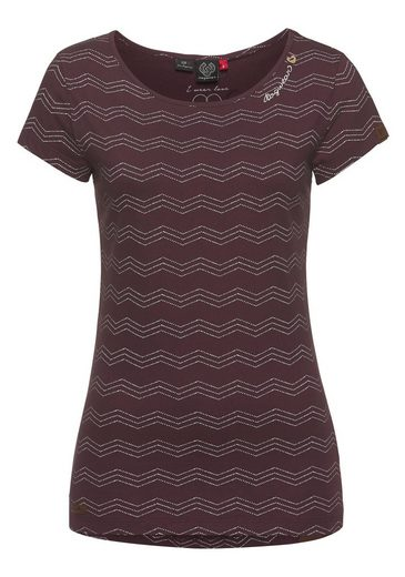 Ragwear T-Shirt »MINT ZIG ZAG« mit kontrastierendem Zig-Zag-Allover-Print