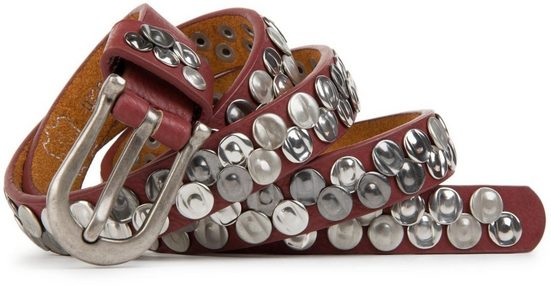 styleBREAKER Nietengürtel »Schmaler Gürtel mit gequetschten Nieten« Schmaler Gürtel mit gequetschten Nieten