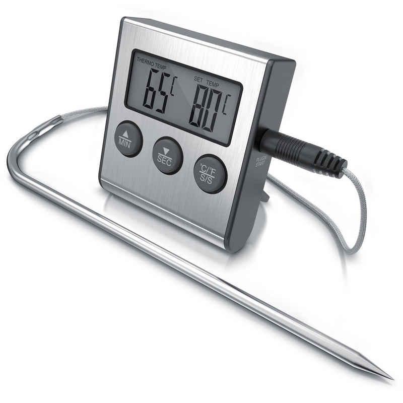 Arendo Grillthermometer, Grillthermometer digital mit Edelstahlsonde 2 Modi - Messbereich -26° bis 250°C